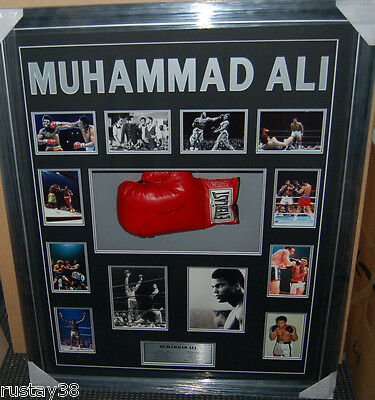 Muhammad Ali Personally Signed Framed Boxing Glove Collage Online Authentics