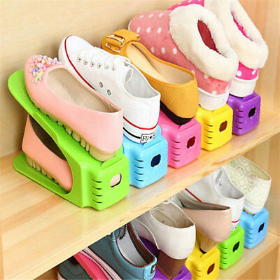 Multi-colored Display Rack Shoes Organizer Space-Saving Plastic Rack Storage New