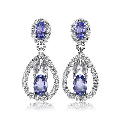 JewelryPalace Genuine Tanzanite White Topaz Dangle Earrings 925 Sterling Silver