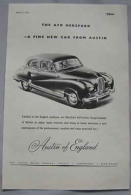 1951 Austin A70 Hereford Original advert No.2