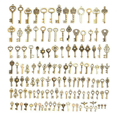 128x Large Skeleton Keys Antique Bronze Vintage Old Look Wedding Decor Pendant