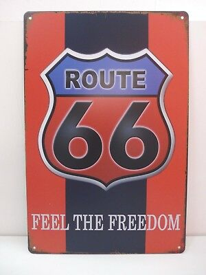 """PLAQUE TOLE 20 x 30 cm DECORATION """"ROUTE FEEL THE FREEDOM"""" Neuf Emballage."""