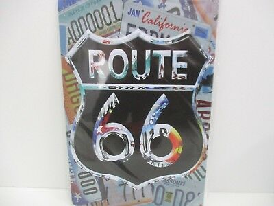 """PLAQUE TOLE 20 x 30 cm DECORATION """"ROUTE 66 IMMATRICULATION"""" Neuf Emballage."""