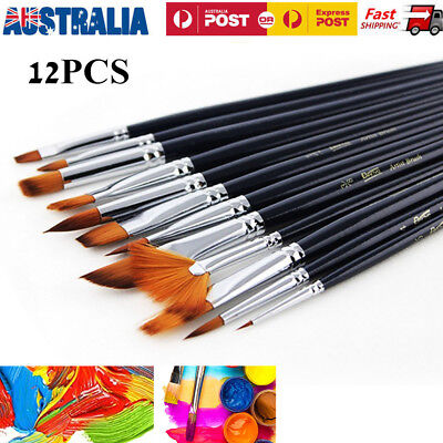 12Pcs Artist Paint Brushes Set Kit Watercolour Acrylic Oil Face Painting Brush