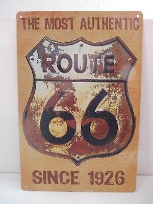 """PLAQUE TOLE 20 x 30 cm DECORATION """"ROUTE 66 THE MOST AUTHENTIC"""" Neuf Emballage."""