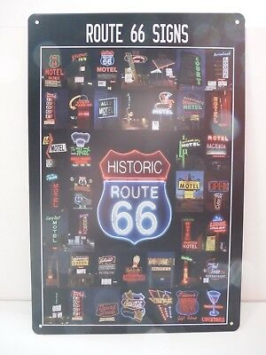 """PLAQUE TOLE 20 x 30 cm DECORATION """"ROUTE 66 SIGNS HISTORIC"""" Neuf Emballage."""
