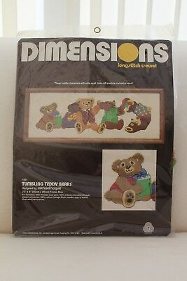 Dimensions Long Stitch Crewel Kit - Tumbling Teddy Bears - Unopened