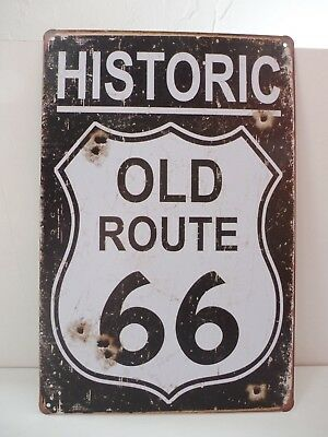 """PLAQUE TOLE 20 x 30 cm DECORATION """"ROUTE 66 HISTORIC OLD ROUTE"""" Neuf Emballage."""