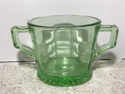 Vintage CROWN CRYSTAL Green Depression Glass Sugar Bowl Art Deco Double Handle