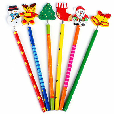 Santa Snowman Tree Bell Wooden Pencils Christmas Style 12pcs /Set Stationery