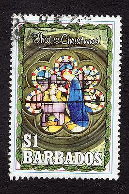 1990 Barbados $1 Christmas stained glass SG946 FINE USED R32479