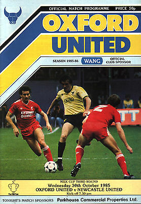 1985/86 Oxford United v Newcastle United, League Cup, PERFECT CONDITION