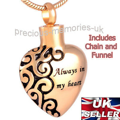 Gold Heart Cremation Ashes Necklace - Funeral Memorial Jewellery Ash Urn Pendant