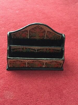 Antique Paper Mache Black Lacquered Floral Design Hand Painted Letter Rack.