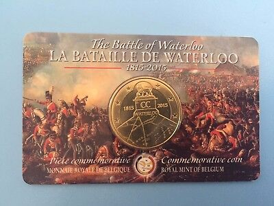 2.5 Euro 2,50 Euros 200 Years Battle of Waterloo Belgium coincard