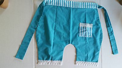 Vintage Apron Blue White Reversible Pant Style Kitchen Collectable Retro Linen