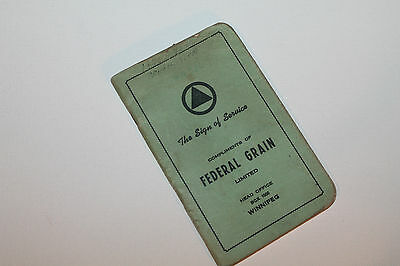 Vintage Booklet Used Notebook Federal Grain Ltd Winnipeg