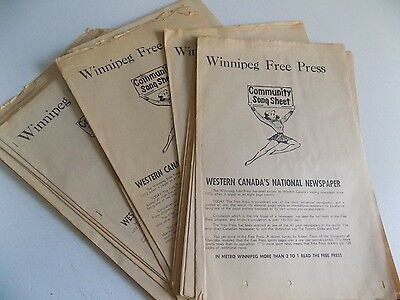 Vintage Lot of Winnipeg Free Press Community Songsheet Booklets Duplicates
