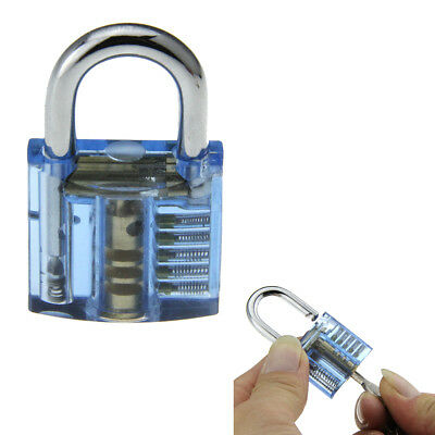 Blue ABS + stainless steel Mini One Slotted Transparent Pratice Padlock W/2 keys