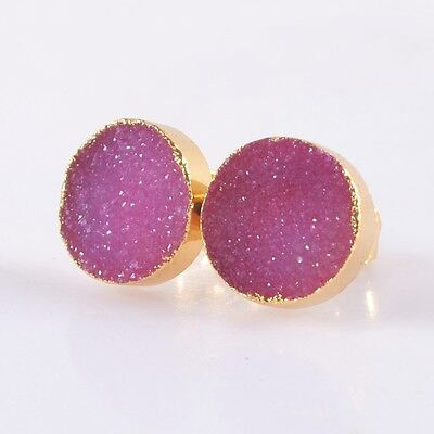 10mm Round Hot Pink Agate Druzy Geode Stud Earrings Gold Plated B037726