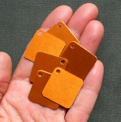 """MT031 10 Square Stamping Tags Anodized Aluminum Gold 1/"""" Squares"""