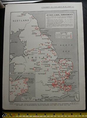 Ww1 Maps Supplement The Great War Bombardments England & Scotland 1914-18