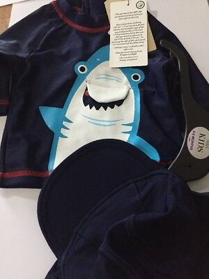 Baby Boy Swimming Top And Sun Hat 3-6 Months M&S New