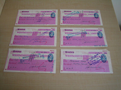 vintage 1940s six westminster bank cashed cheques