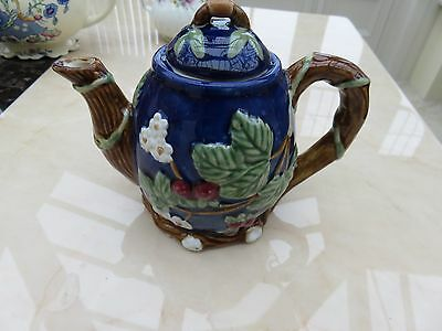 Beautiful blue Teapot embossed leaves/floral  excellent unused condition