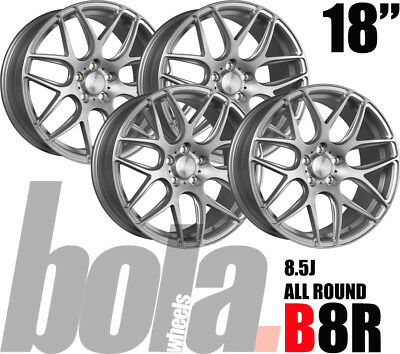 """18"""" Bola B8R Silver 5 Stud 8.5J Set Of 4 Alloy Wheels For Vw Scirocco 08-On"""