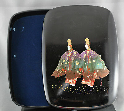 Gorgeous Large Vintage Japanese Hand Painted Lacquer Box Felt Lined