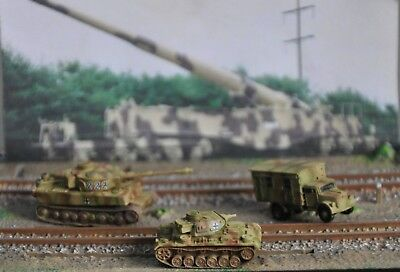 3 X Z Scale 1:220 Military Vehicles Tiger T1 Tank,  Panzer Iii Tank, Opel Radio