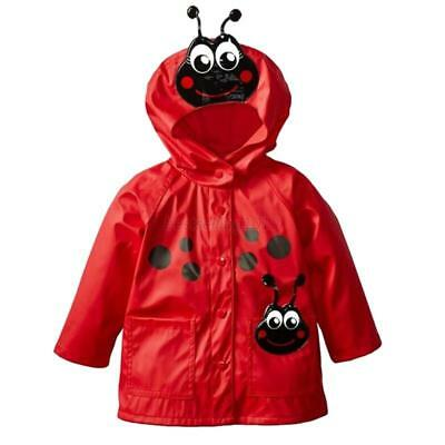 AU Toddler Kid Baby Girls Boys Hooded Rain Coat Raincoat Windbreaker Jacket 2-6Y