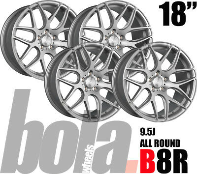 """18"""" BOLA B8R SILVER 5 STUD 9.5J 4 ALLOY WHEELS FIT Jaguar F TYPE R COUPE 14-ON"""