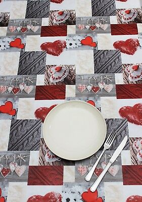 Peggy Wilkins Pvc Tablecloth - Alpine Hearts - Wipe Clean Cloth - Homeware