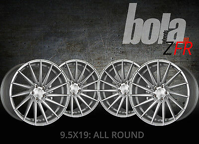 """19"""" BOLA ZFR SILVER 5 STUD 9.5J SET OF 4 ALLOY WHEELS FOR Jeep CHEROKEE 13-ON"""