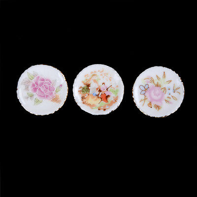 3pcs Dollhosue Miniature Modern Ceramic China Porcelain Colorful Plates Gifts JR