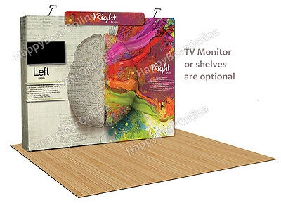 Trade show display fabric tension Quick pop-up booth 10 ft  (XF) TV / Shelves