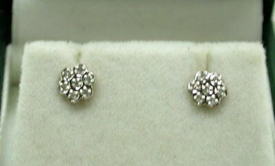 Vintage Very Pretty Pair of 10 Carat Gold & Diamond Small Cluster Stud Earrings