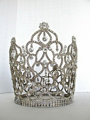 ORNATE Huge Vintage Round 8 inch Pageant Style Crown Heavy Rhinestone Drops