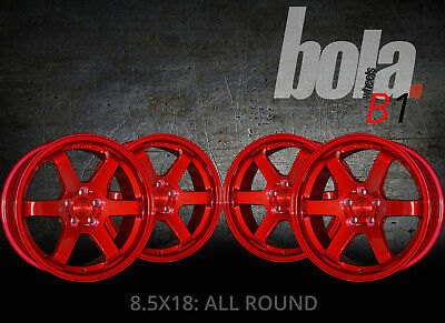 """18"""" BOLA B1 RED 5 STUD 8.5J SET OF 4 NEW ALLOY WHEELS FOR Opel CORSA OPC 07-ON"""