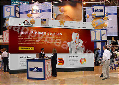 Trade Show Fabric Tension pop-up Booth 20ft (10ft tall) 10ft in height