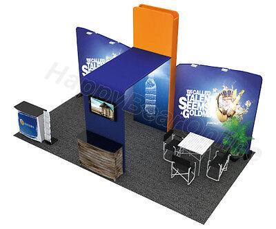 Trade show waveline C-02 fabric exhibition booth 20 ft TV suuport