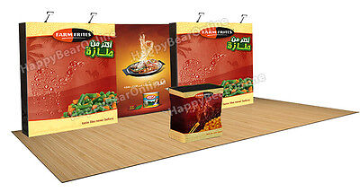 Trade show fabric tension pop-up booth 20 ft T5 / Dye sublimation graphics