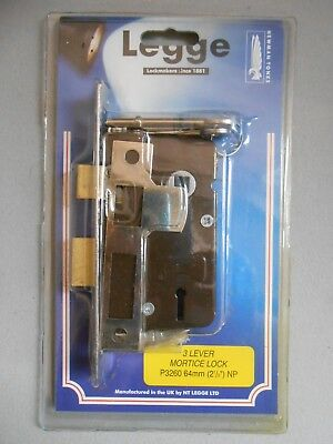"""Legge 3 Lever Mortice Lock P3260 64mm (2.5"""") NP (New & Sealed)"""