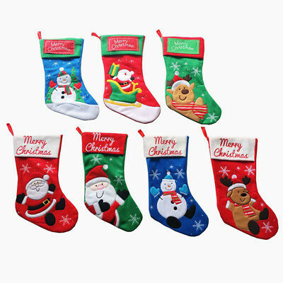 Personalised Luxury Embroidered Xmas Santa Snowman Reindeer Stocking Christmas