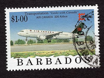 1996 Barbados $1 Airbus Industrie A320 SG1091 FINE USED R32881