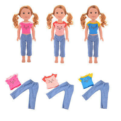 Cartoon Mouse Clothes Outfit for 14'' American Girl Wellie Wishers Doll Dress Up
