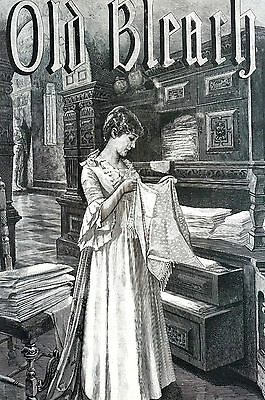 Old Bleach Ad IRISH LINENS 1890 Towels Diapers Piece Goods Matted Advertising