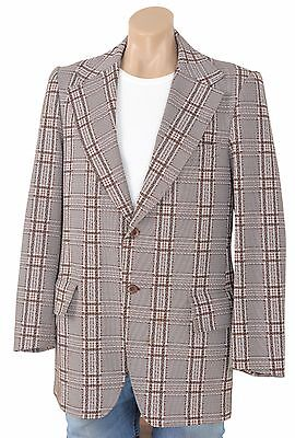 Vintage 70s Plaid Polyester Sportcoat Blazer Suit Jacket Coat Retro Hipster Mens